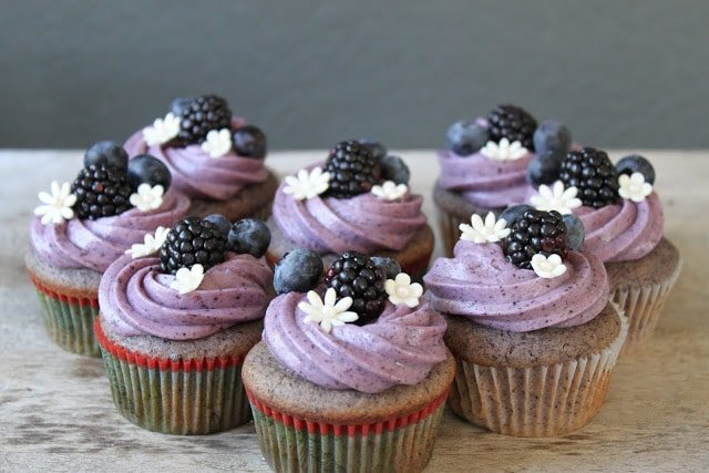Blueberry Blackberry Cupcakes with blueberry cream cheese frosting