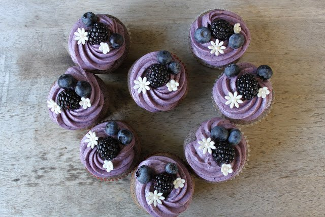Blueberry Blackberry Cupcakes with cream cheese frosting