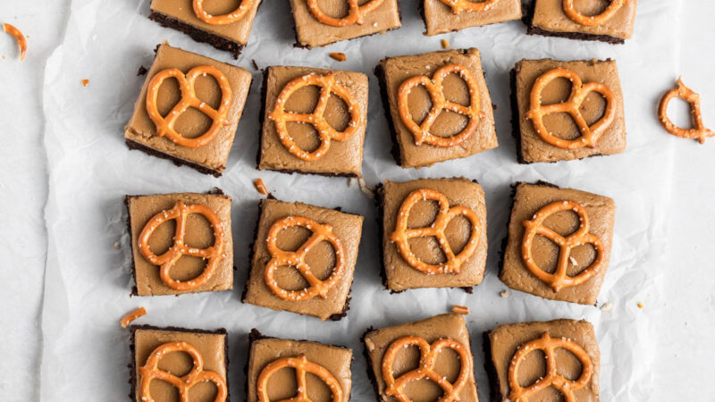 Guinness Brownies with Butterscotch and Pretzels