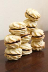 Vanilla Rosette Cookies with Chocolate Ganache