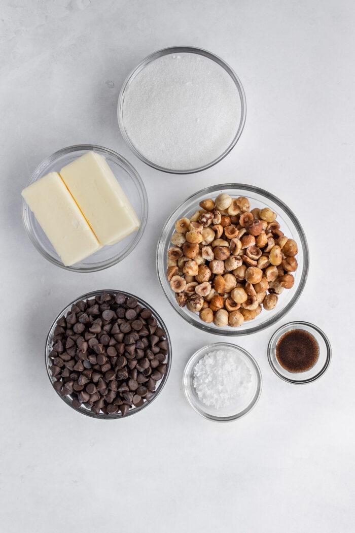 Salted hazelnut toffee ingredients
