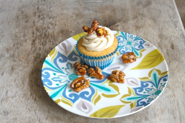 vanilla cupcakes with maple frosting and candied walnuts