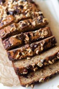 Chocolate hazelnut banana bread slices