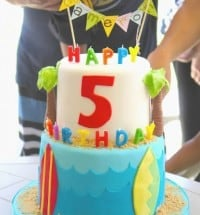 surf and sand bday cake