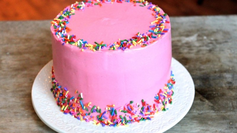 Pink Celebration Cake with Sprinkles
