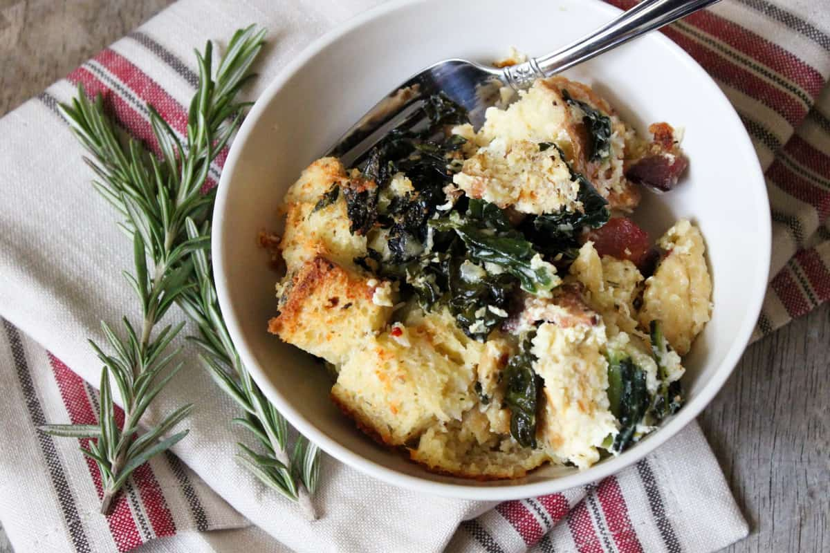 Savory Parmesan Bread Pudding with bacon & kale-The Little Epicurean