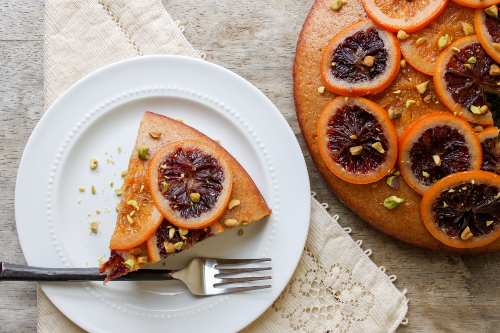candied blood orange olive oil cake