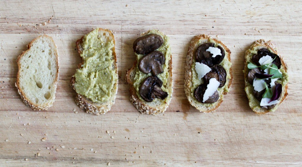 evolution of leek pesto crostini