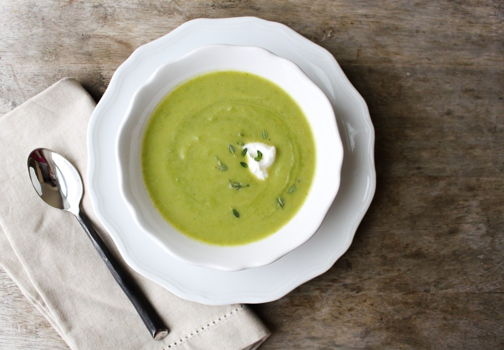 Green Pea Soup with lemon thyme leaves