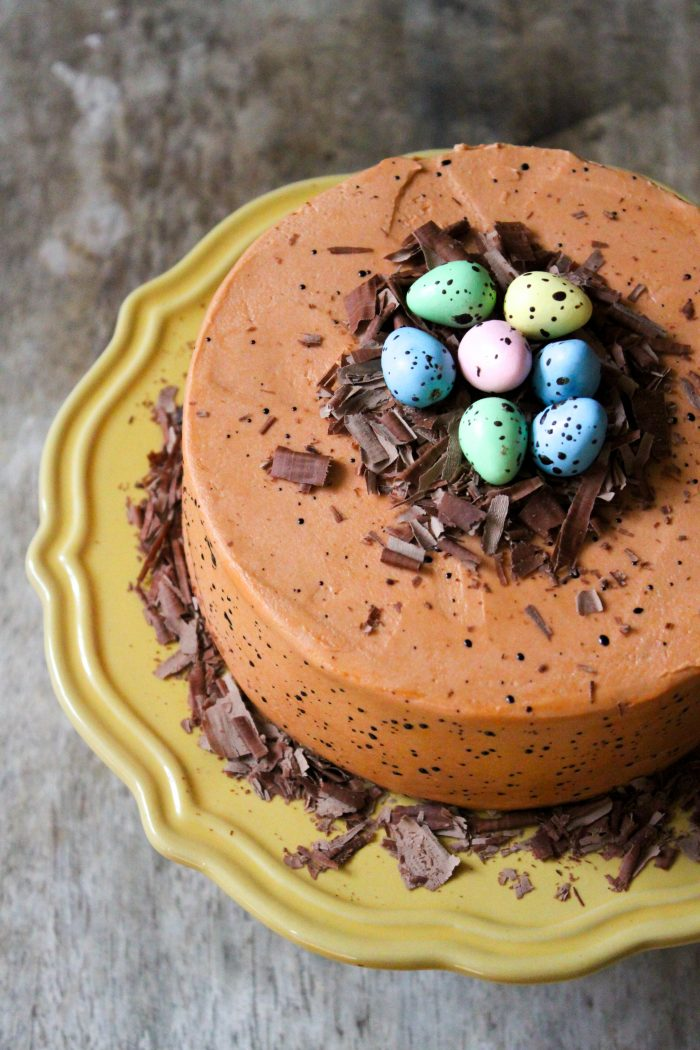 Speckled Egg Chocolate Fudge Cake for Spring and Easter celebration