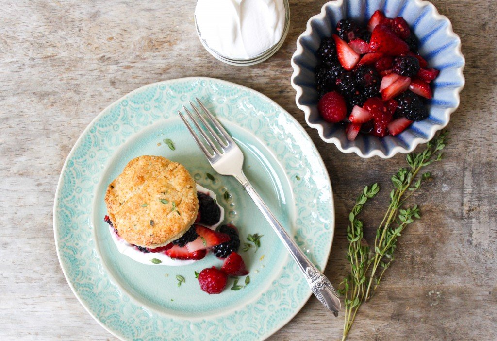 lemon thyme biscuit with mixed berries and fresh whipped cream