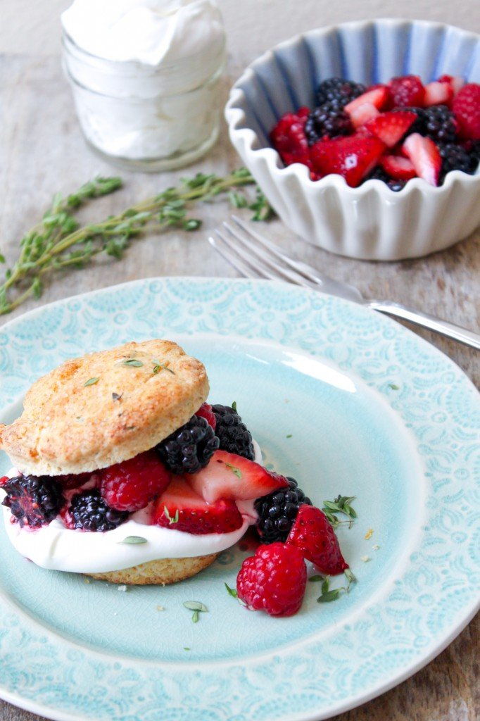 lemon thyme biscuit with mixed berries and whipped cream