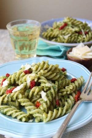 Fusilli with arugula pesto