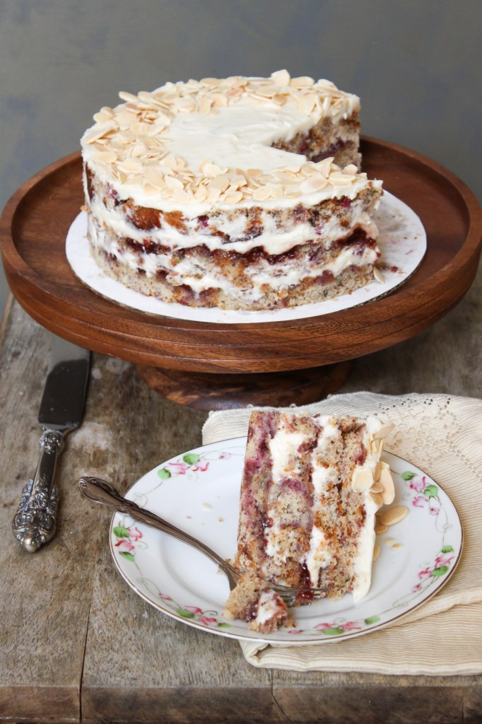 Raspberry almond layer cake with cream cheese frosting