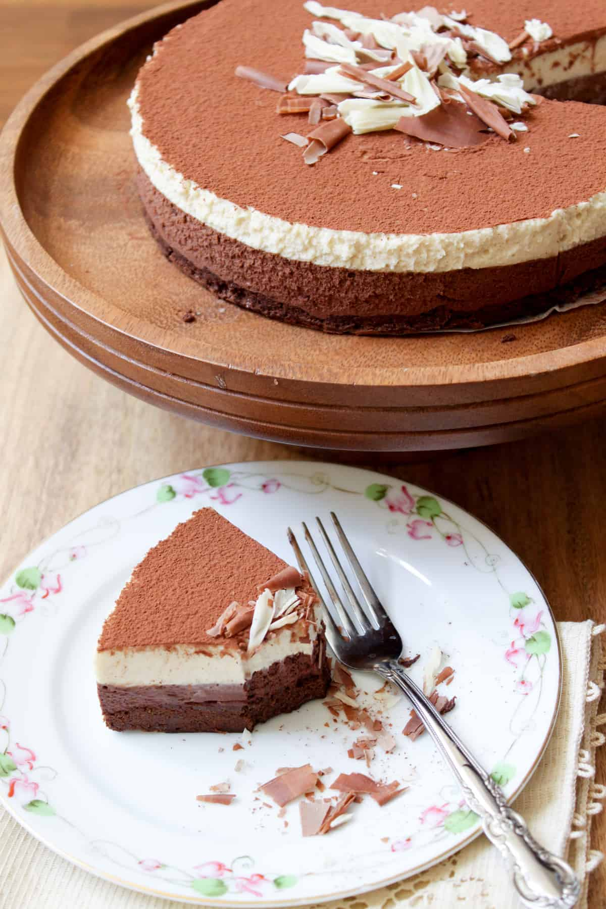 mother's day cake: dark chocolate and white coffee mousse cake