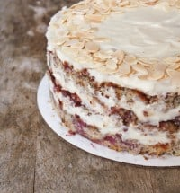 raspberry almond layer cake