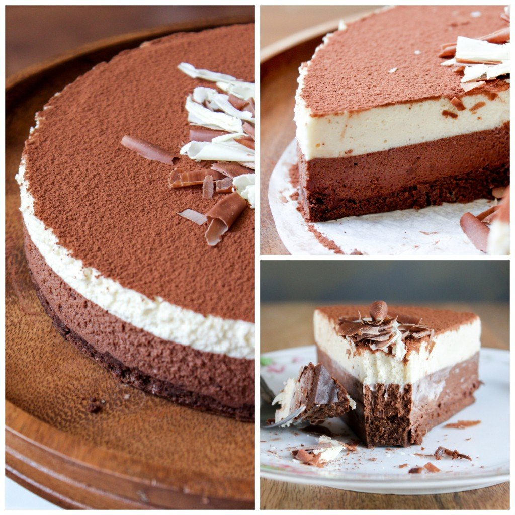 dark chocolate and white coffee mousse cake