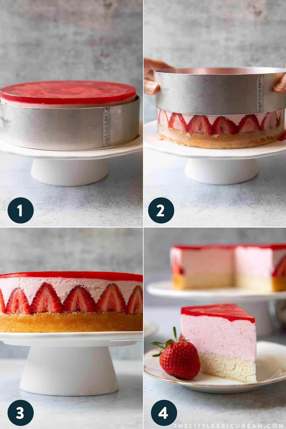 step by step strawberry mousse cake assembly.