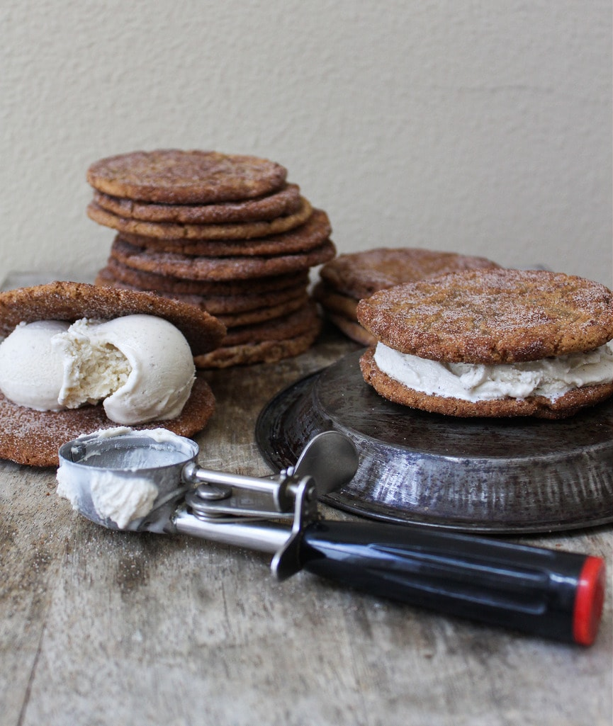 Brown Butter Snickerdoodle ice cream sandwiches