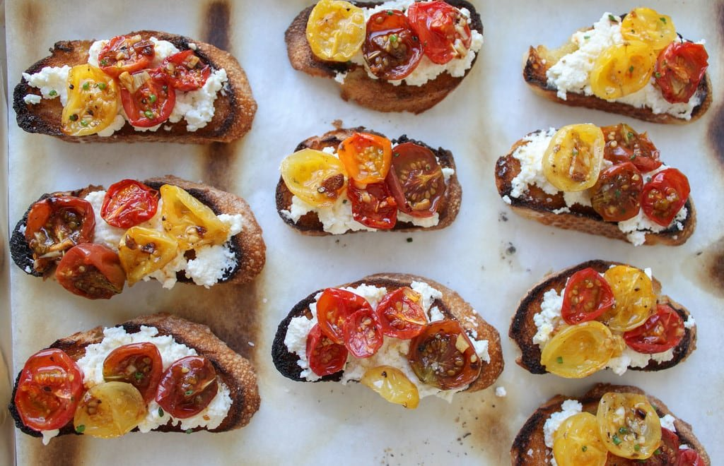 Crostini with homemade ricotta and slow roasted tomatoes