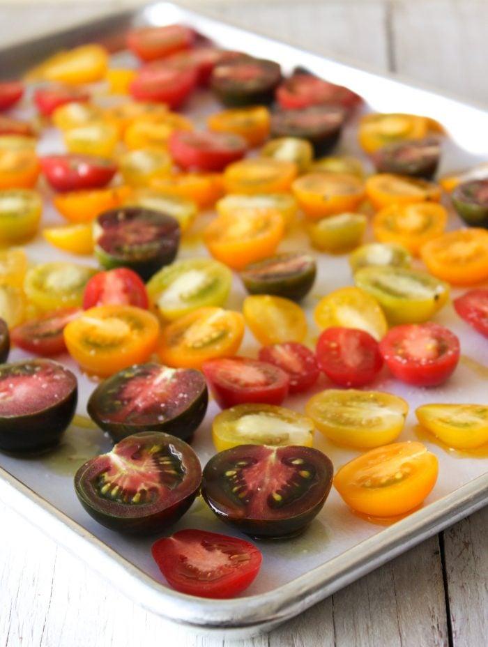 mini heirloom tomatoes in baking sheet