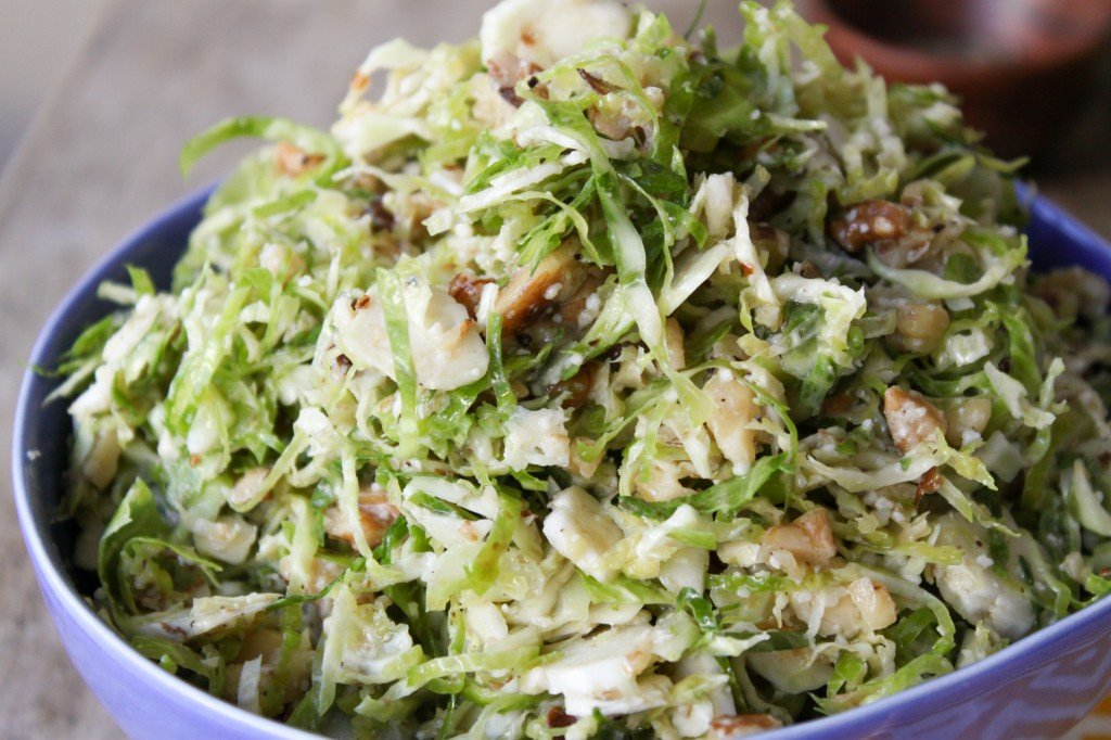 close up of shaved brussels sprouts salad