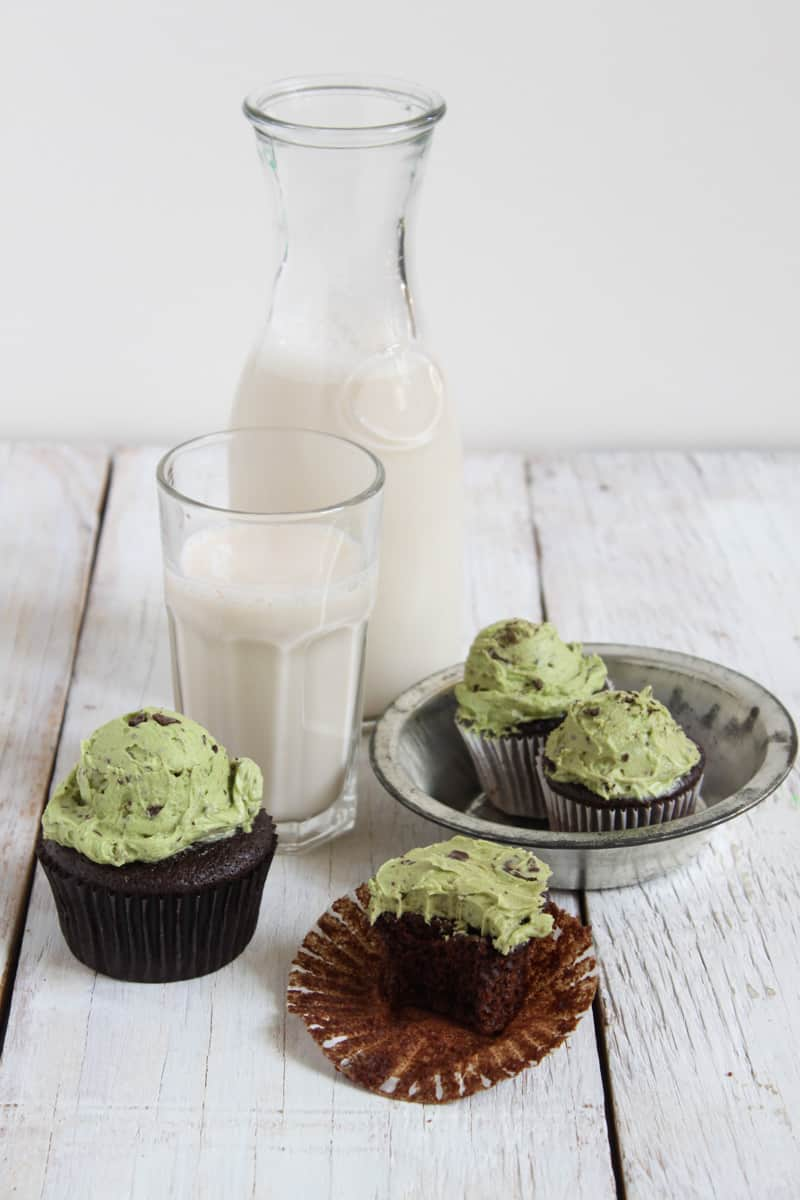... Mint Chocolate Chip Cupcakes! I used a quick one bowl chocolate