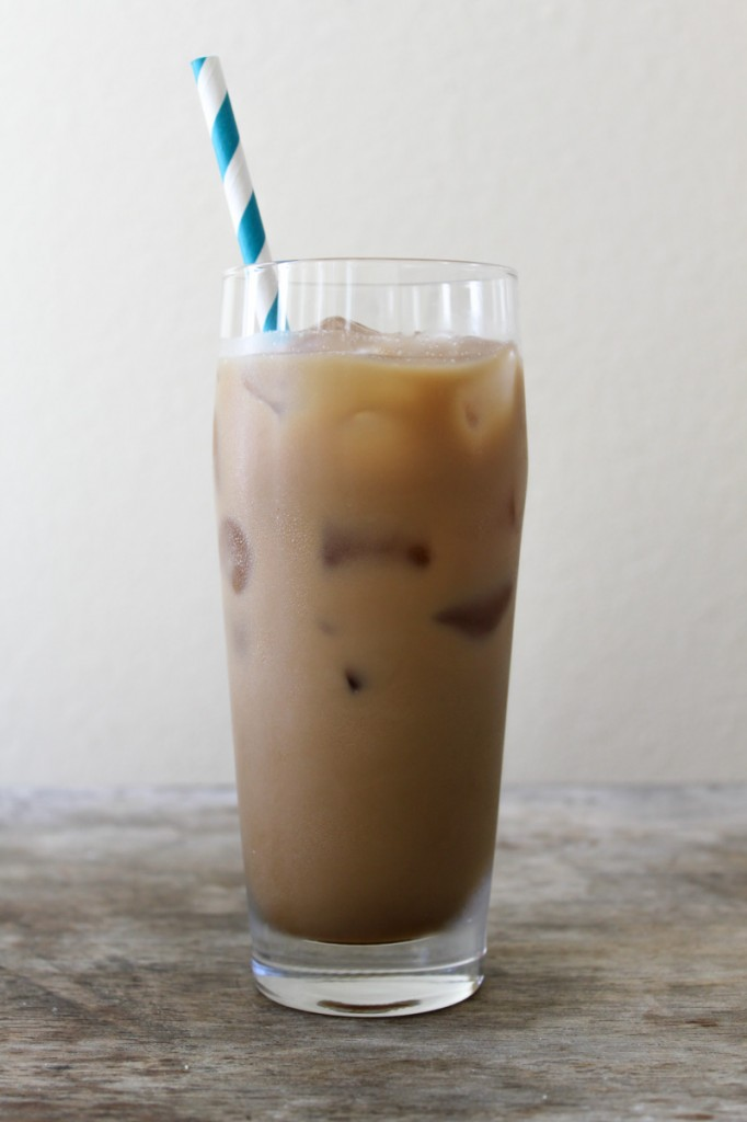Cold brewed ice coffee with milk and simple syrup