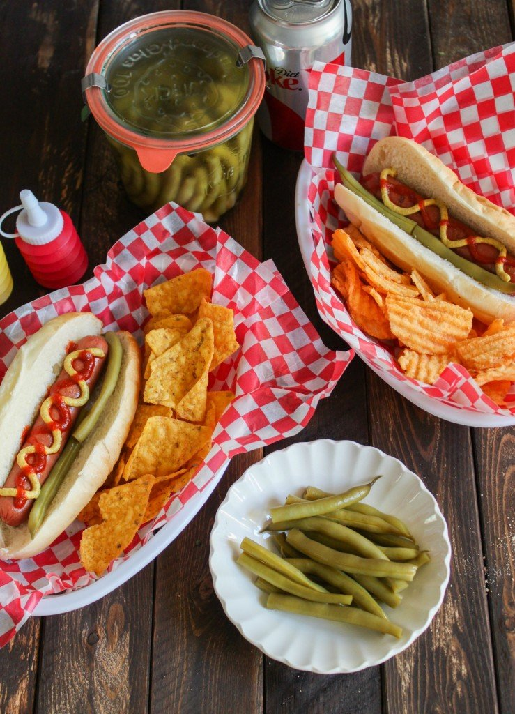 Pickled Green Beans with Hot Dogs