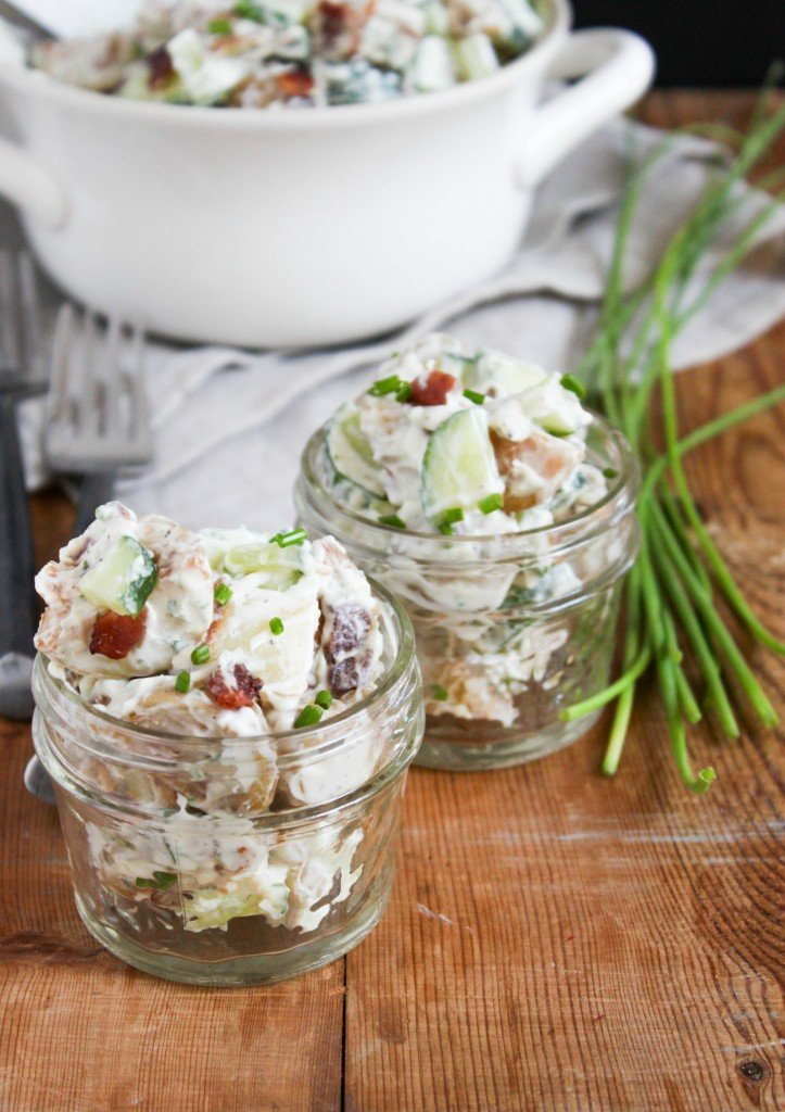 Roasted Potato Salad with bacon, cucumber, and ranch