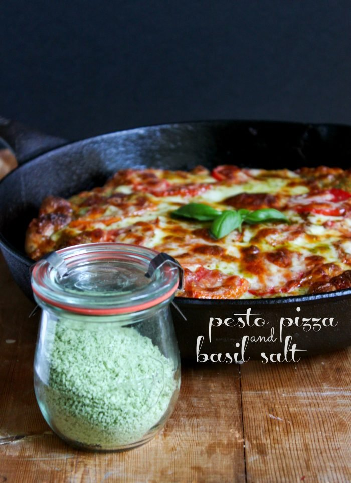 Pesto Pizza with Basil Salt
