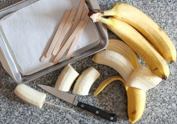 frozen banana prep work