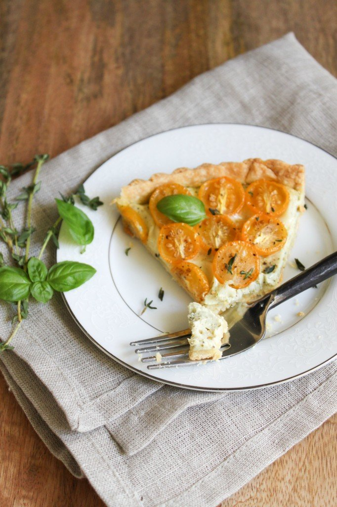 slice of cherry tomato pesto tart