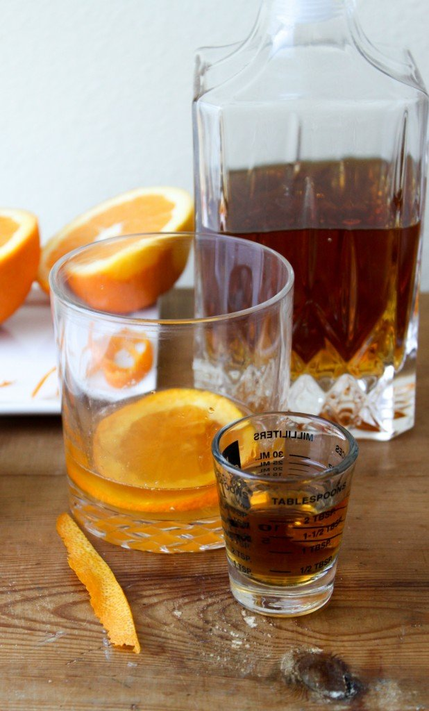 two shots of alcohol for a double old fashioned