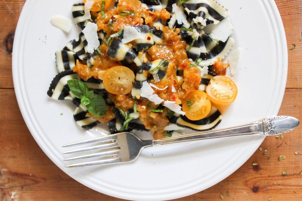 zebra bow tie pasta with yellow tomato sauce