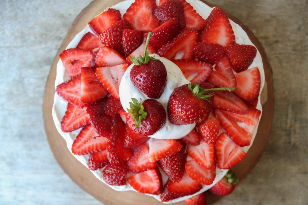 overhead view of strawberry layer cake
