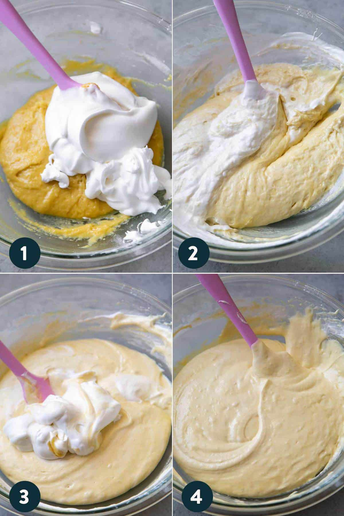 step by step how to fold sponge cake batter