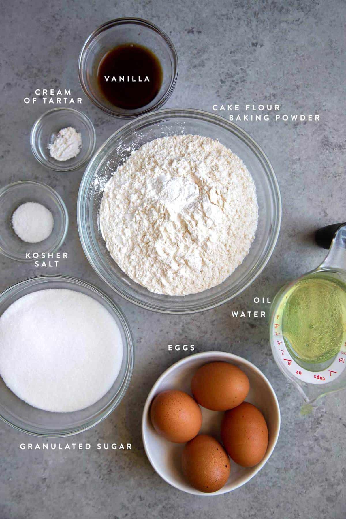 Vanilla Sponge Cake ingredients