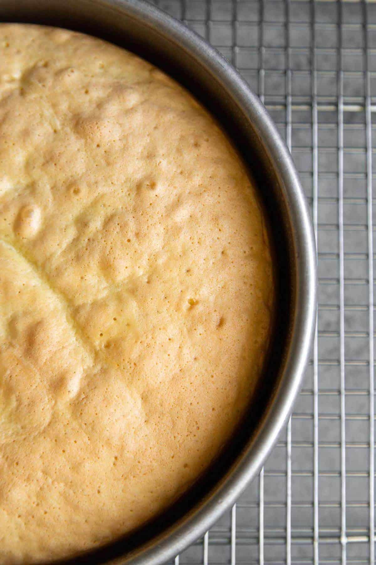 baked sponge cake will pull away from cake pan.