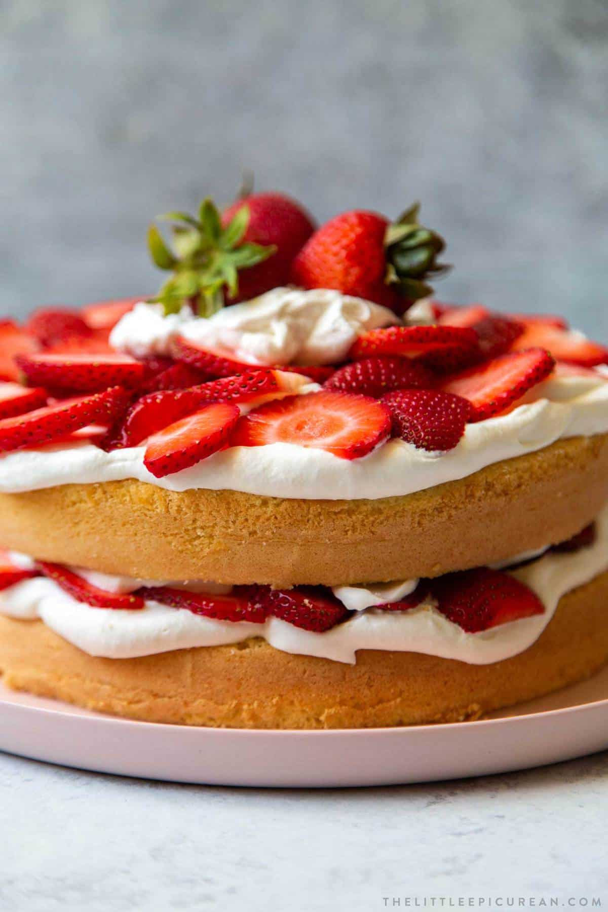 strawberry layer cake with fresh strawberries and whipped cream