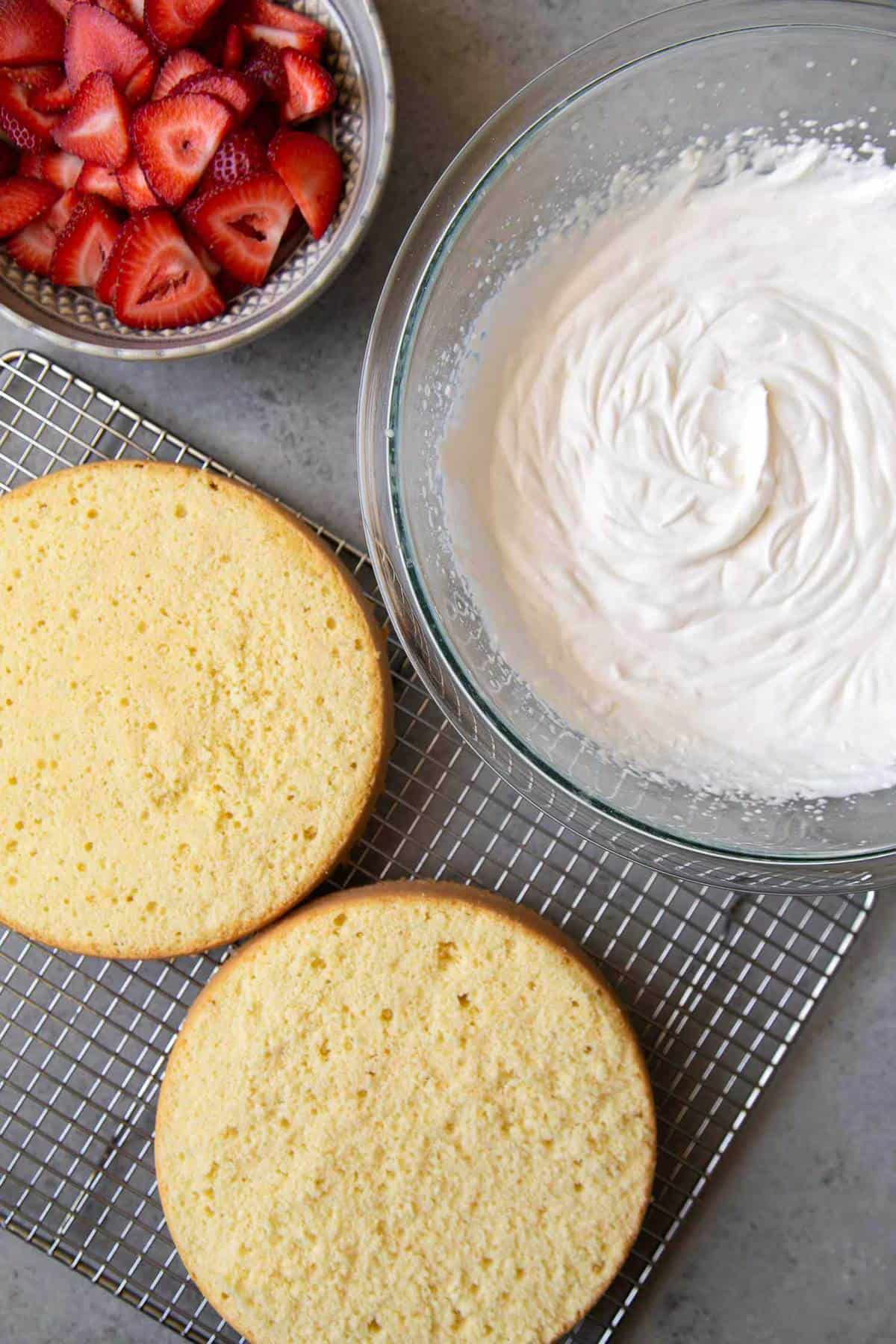 sponge cake layers, whipped cream, and sliced strawberries.