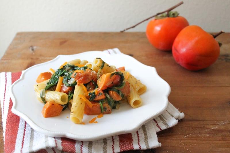 Autumn Persimmon Arugula Pasta