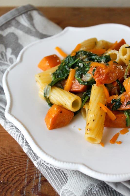Roasted Persimmon Arugula Pasta