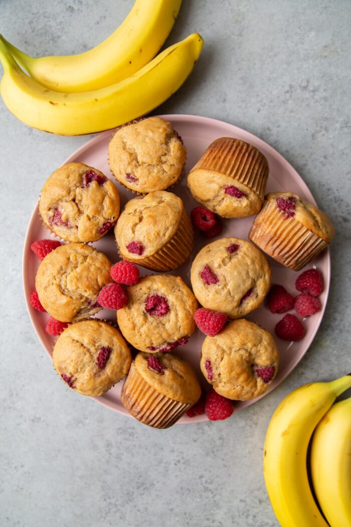 Banana Raspberry Buttermilk Muffins