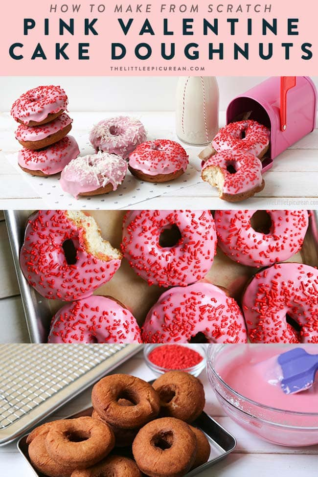 How to make Pink Valentine Cake Doughnuts from scratch