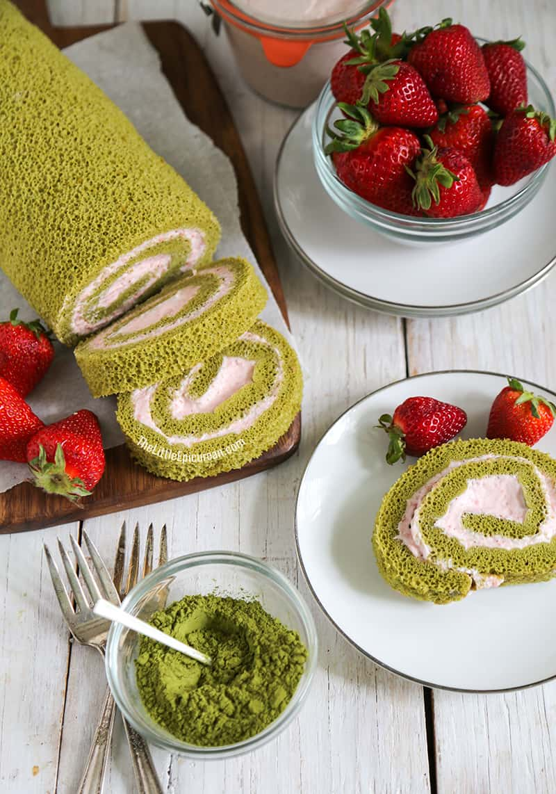 Matcha Green Tea Swiss Roll with Strawberry Mousse