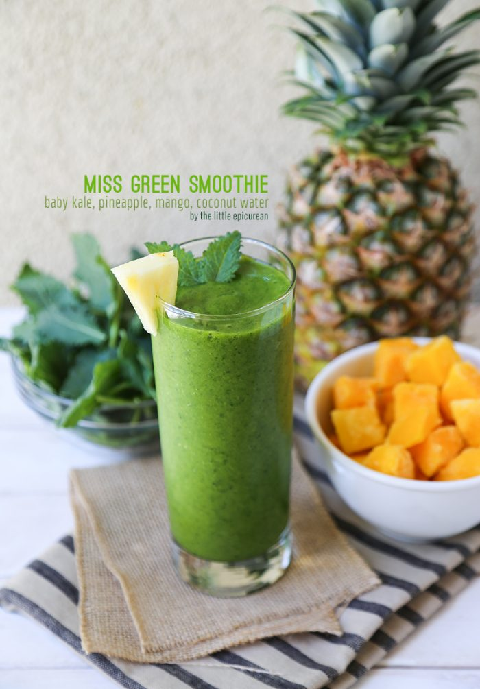 Miss Green Smoothie made with kale, pineapple, mango, and coconut water