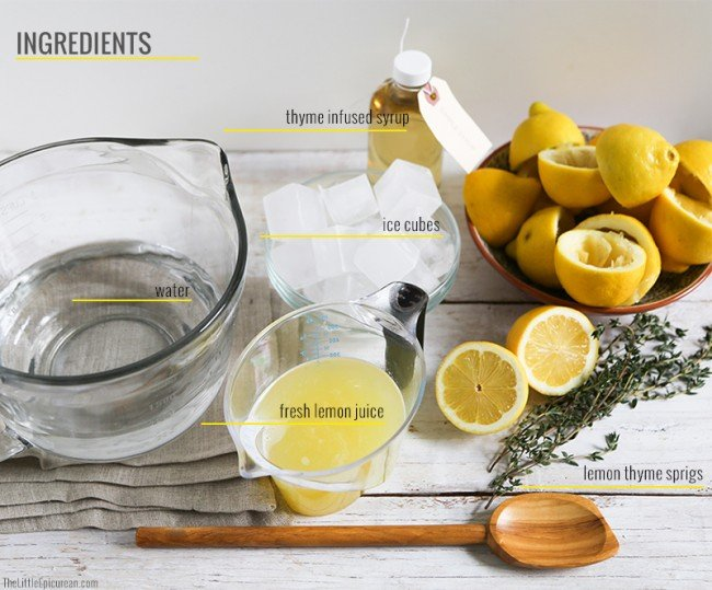 Spring Thyme Lemonade Ingredients