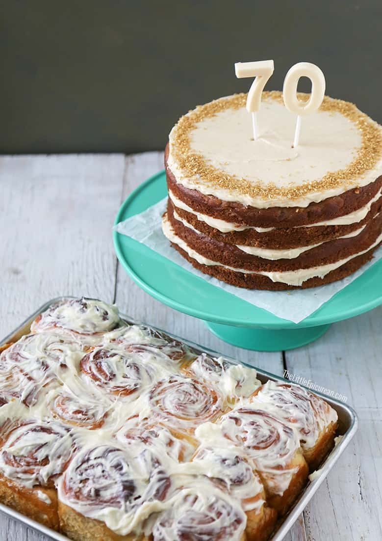 Walnut Banana Rum Cake with Cinnamon Cream Cheese Icing