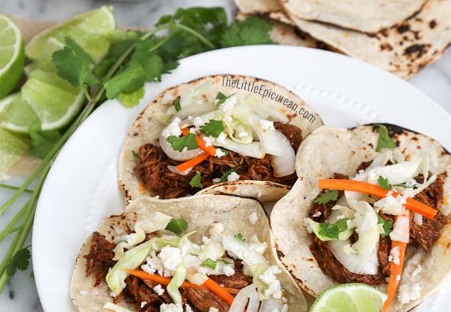 Slow Cooker Shredded Beef Tacos | The Little Epicurean